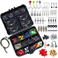 TOPFORT 187/230pcs Fishing Accessories Kit, Including Jig Hooks, Bullet Bass Casting Sinker Weights, Fishing Swivels Snaps, S