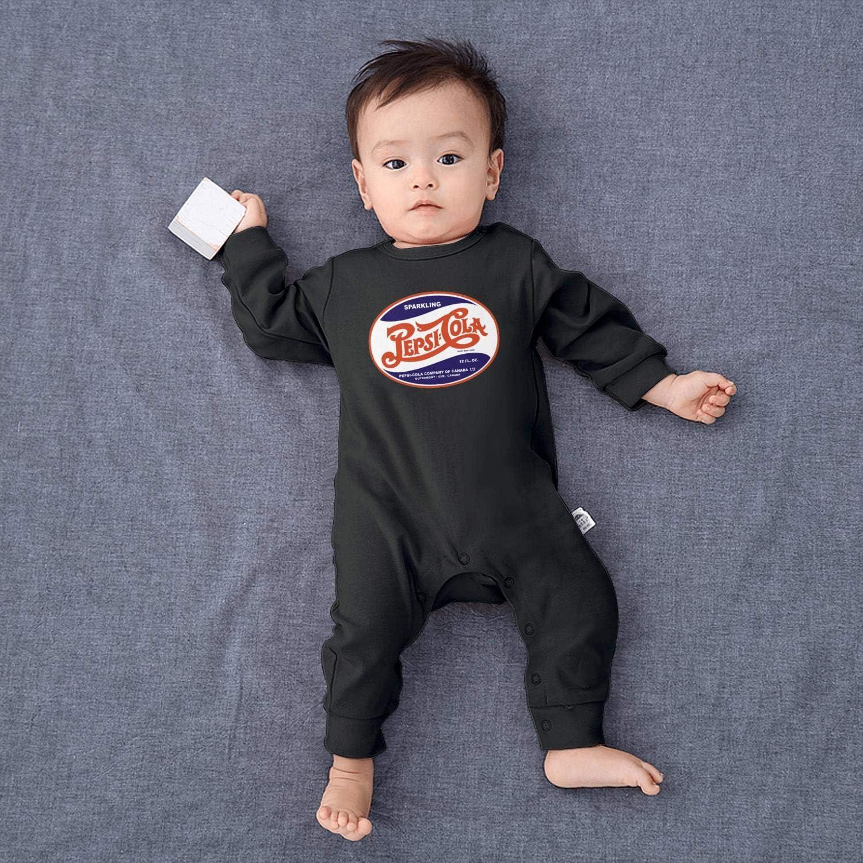 chenhou Newborn Infant Baby Girls Boys Vintage Logo Black Onesie Bodysuit Long Sleeve Footed Sleep Romper Overalls