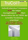 50 Blatt DIN A4 Fotopapier 135g /m² hochglänzend selbstklebend bis 19200 dpi wasserfest lichtecht