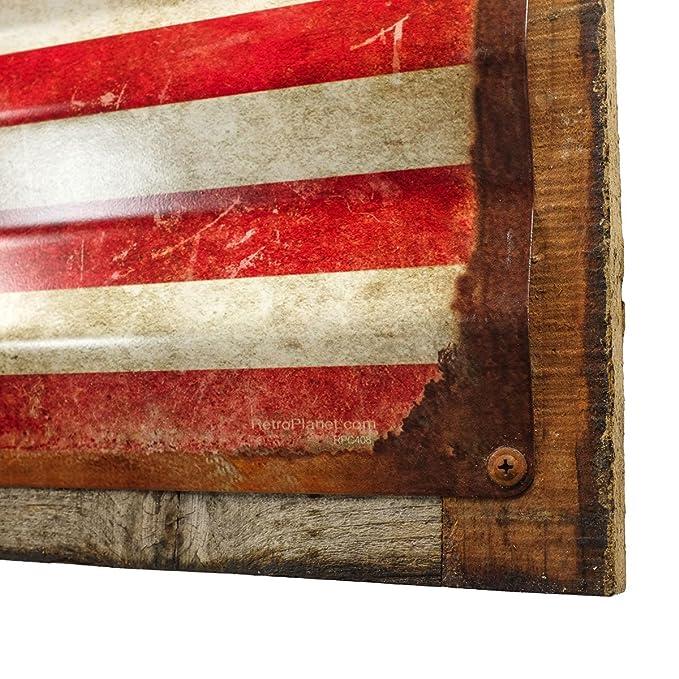 76b6f5fc10c6 Amazon.com  American Flag Distressed Framed Corrugated Metal Sign 26 x 18   Home   Kitchen