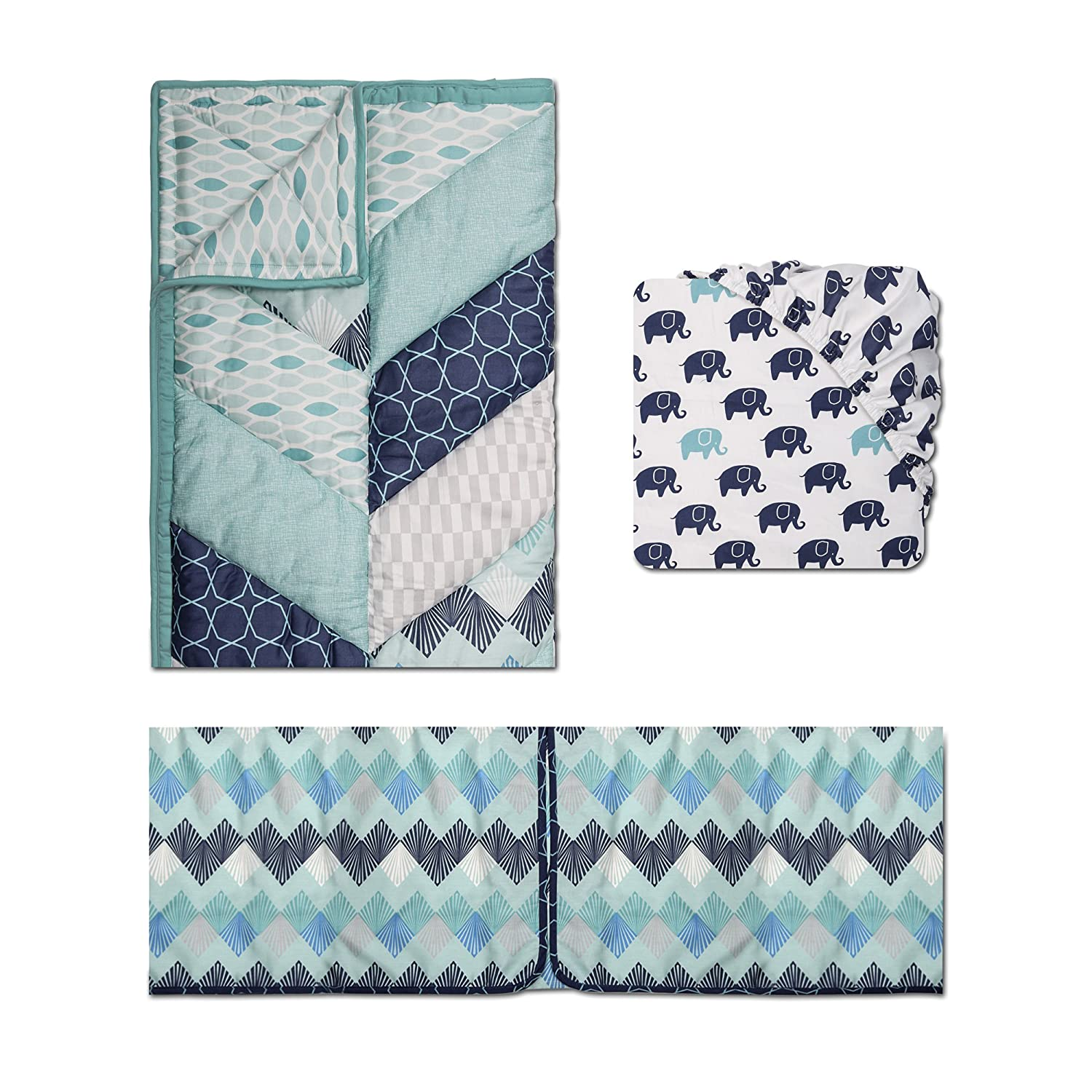 The Peanutshell Mosaic 3 Piece Crib Bedding Set, Blue, Grey, Aqua, Medium Farallon Brands BSPS: BSPS-MSC