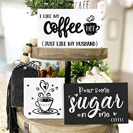 Coffee Tiered Tray Decor Miniature Coffee Sign Painted Wood Framed Sign Small Coffee Bar Sign Sign for Tiered Tray Farmhouse Decor