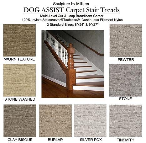"SCULPTURE 9""x27"" Dog Assist Carpet Stair Treads - Premium 40 Oz. Tufted Pinpoint Saxony NYLON by Milliken - Set of 13 Treads + Bonus Roll of Carpet Tape ..."