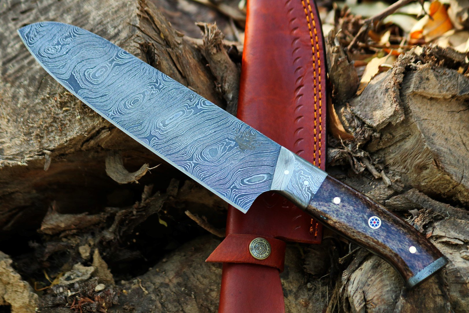 """TNZ-1181 USA Damascus Chef Knife 12.5″ Long 7.5″Blade """" 9oz Damascus Chef knife Handmade Kitchen Sharp sushi Chef knife With Leather Cover TNZ Hand Made Damascus knives"""