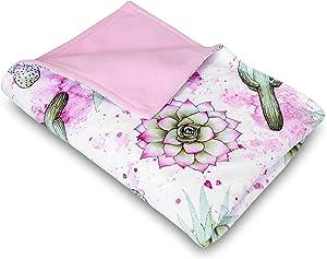 Watercolor Cactus Baby Blanket | 30x40 Inches | Southwest Succulent Cacti Nursery Decor