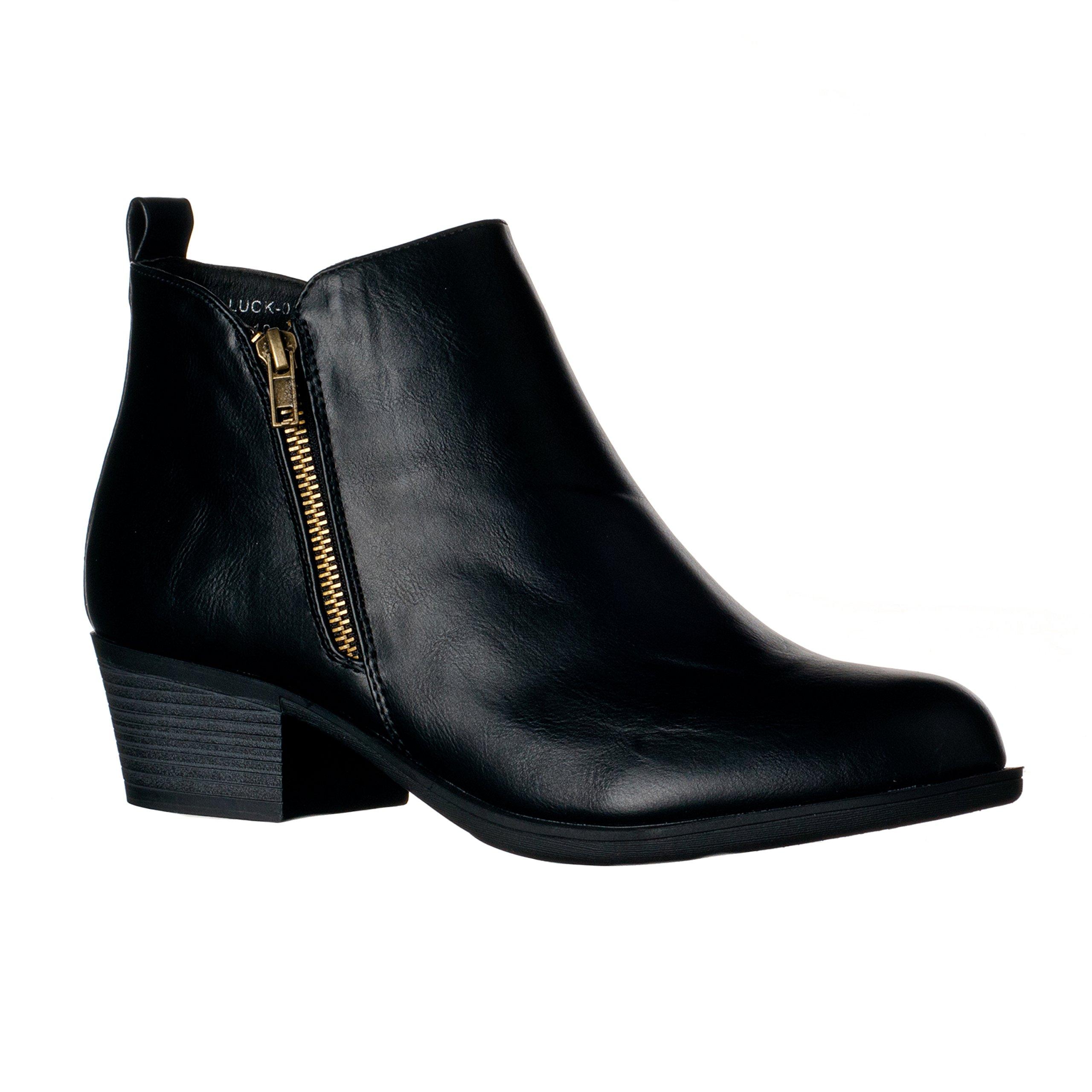 Riverberry Women's Luck Medium Height, Chunky Heel Bootie Boots, Black, 7.5