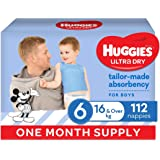 HUGGIES Ultra-Dry Nappies, Boys, Size 6 (16kg+), One-Month Supply, Size 6, 112 count