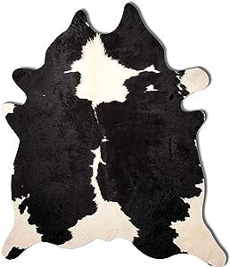 Natural Black & White Handmade Kobe Cowhide Rug Shed-Free Fade Resistant Cowhide Area Rug, 6 ft x 7 ft