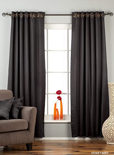 Indian Selections Lined-Black Ring Grommet Top 90 Blackout Curtain Drape -80W x 120L-Piece