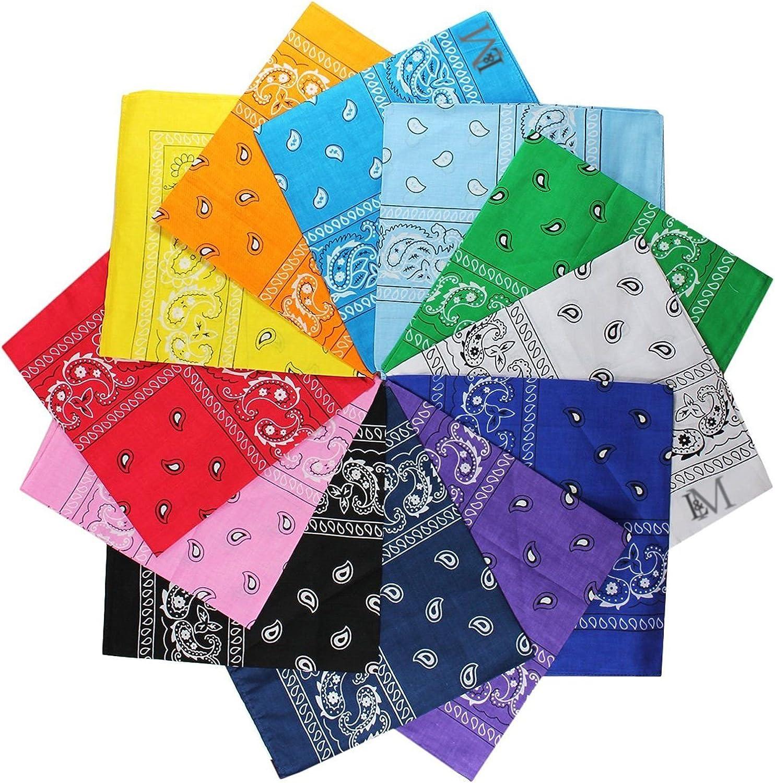 LM 12Pcs Bandanas 100% Cotton Paisley Print Head Wrap Scarf Wristband (Multi Color): Clothing