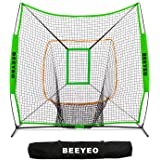 BEEYEO Baseball/Softball Practice Net for Batting Pitching Hitting and Catching 7' x 7' Baseball Nets with Bow Frame, Carry Bag and Bonus Strike Zone