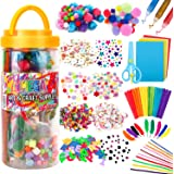 Mega Kids Art Supplies Jar – Over 1,000 Pieces of Colorful and Creative Arts and Crafts Materials - Glue, Safety…