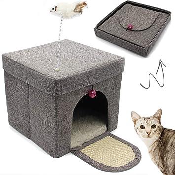 BPS Casa para Gatos Mascotas Portable Plegable con Juguete Ratón 30x30x29cm BPS-10707: Amazon.es: Productos para mascotas