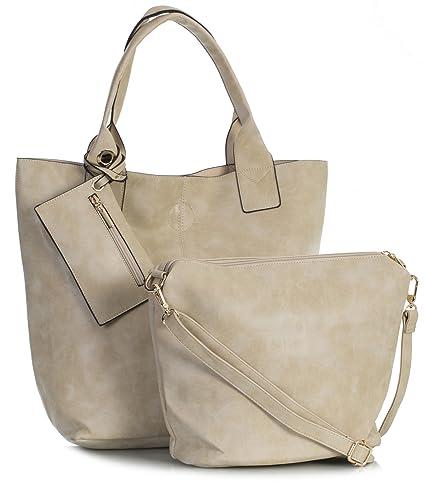9967b598ac Big Handbag Shop Ladies 3 in 1 Vegan Faux Leather Vintage Tote Shopper Bag  (Beige