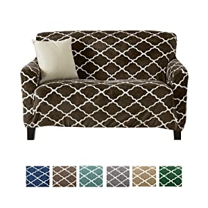 Great Bay Home Modern Velvet Plush Love Seat Slipcover. Strapless One Piece Stretch Loveseat Cover. Love Seat Cover for Living Room. Magnolia Collection Slipcover. (Love Seat, Walnut Brown)