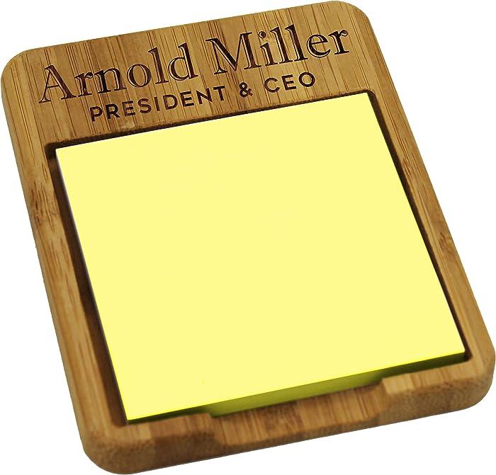 Custom Personalized Sticky Note Holder Dispenser - Wooden Business Desk Office for Men Women