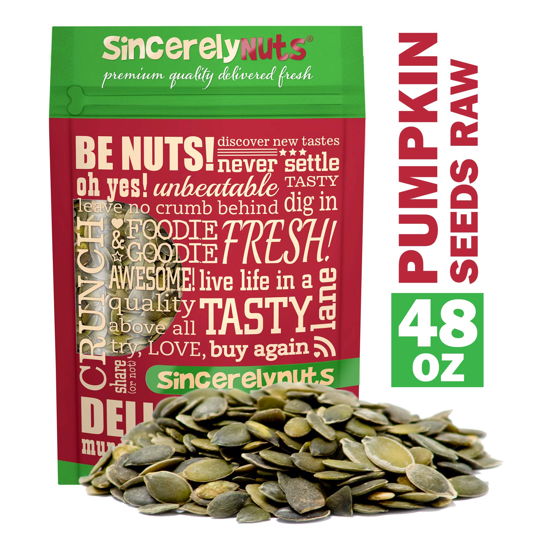 Sincerely Nuts - Raw Shelled Pepitas Pumpkin Seeds (Unsalted) (3lb bag) | All Natural Snack Food for Eating or Cooking | Vegan, Kosher, Gluten Free Food | Protein & Antioxidants