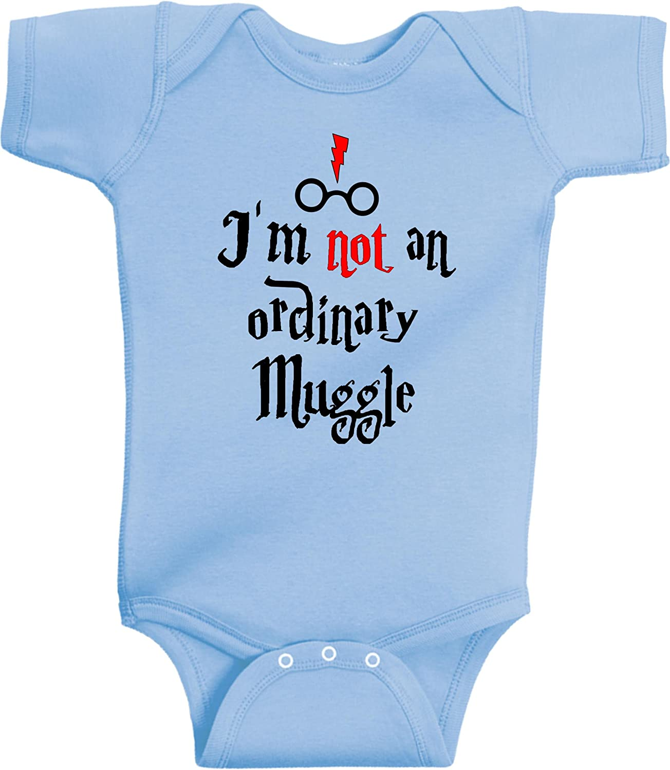 New Born, Light Blue Im Not an Ordinary Muggle Funny Wizard Romper Wizard Onesie by BeeGeeTees