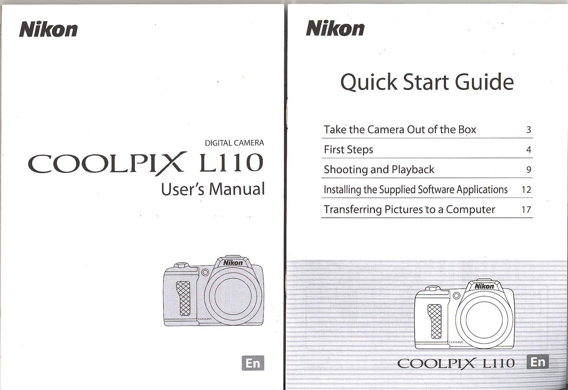 Nikon CoolPix L110 Digital Camera User Guide Instruction  Manual