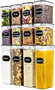 Airtight Food Storage Containers - Paincco BPA Free Cereal Storage Containers Set of 12 for Flour, Sugar and Baking Supplies, with 20 Labels and 1 Marker Pen