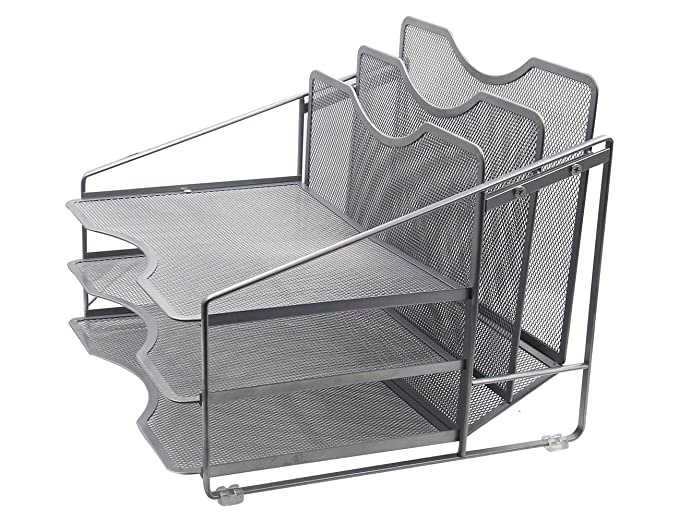Amazon.com : EasyPAG Mesh Desk File Organizer with 3 Horizontal Tray and 2 Upright Holder Silver : Office Products