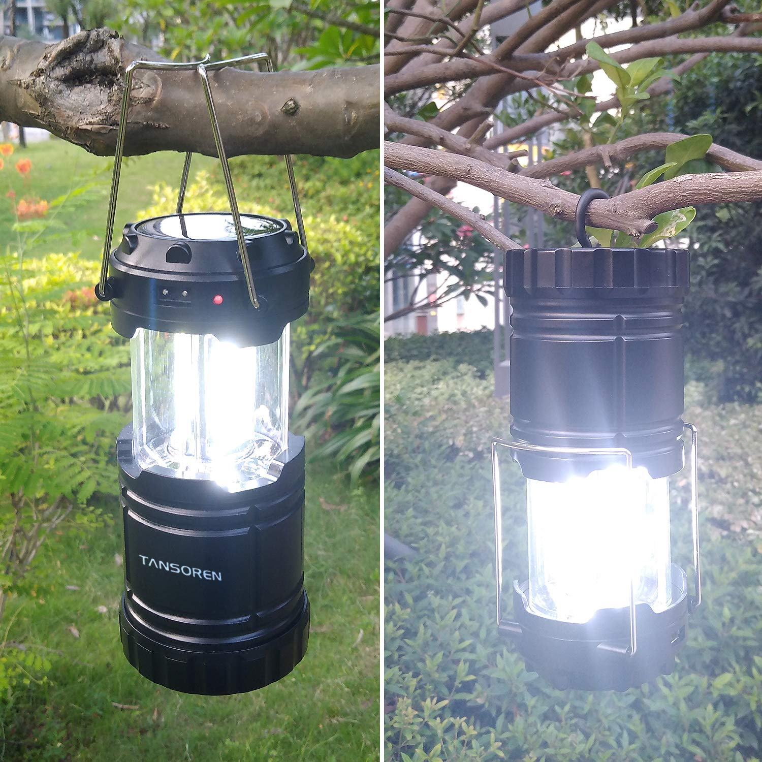 4 Pack Solar USB Rechargeable 3 AA Power Brightest COB LED Camping Lantern with Magnetic Base, Charging for Android, Waterproof Collapsible Emergency LED Light【2018 UPGRADED】 by TANSOREN (Image #6)