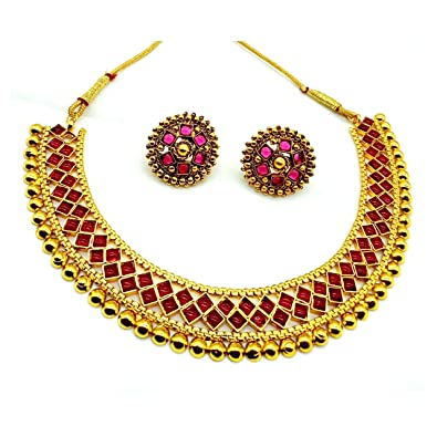 0a01acb6763fb Ttrendy Collection Fashion Jewelry Gold Plated Fancy Necklace Set  Traditional Jewellery Set with Earrings for Women & Girls