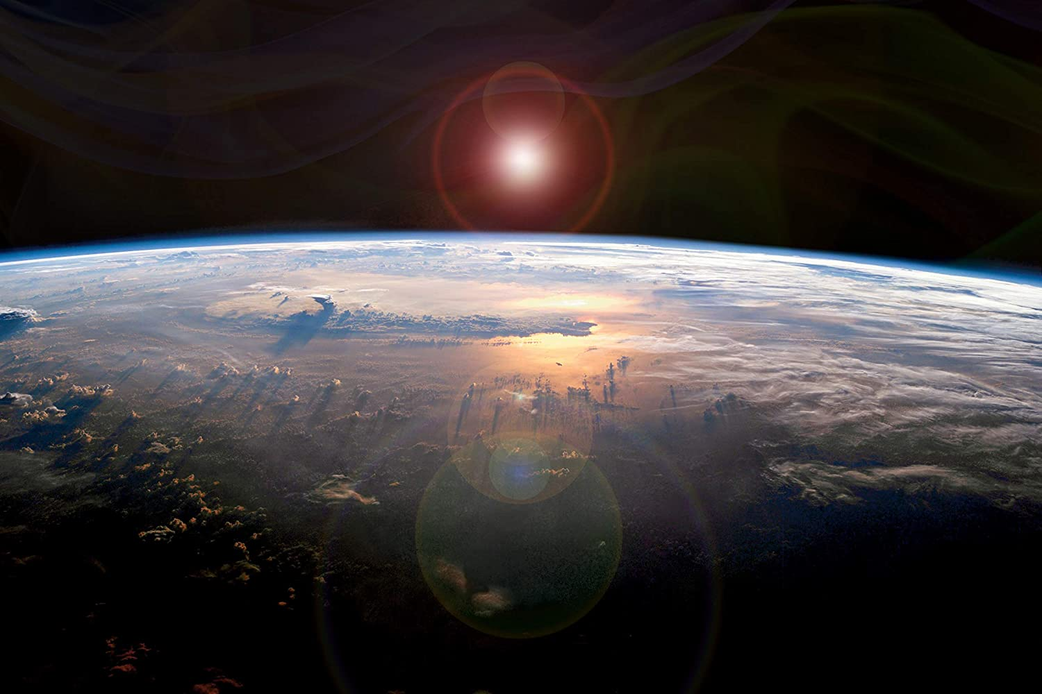 Sunset on Earth, Space View 250 Miles Away. Laminated Art Poster Print