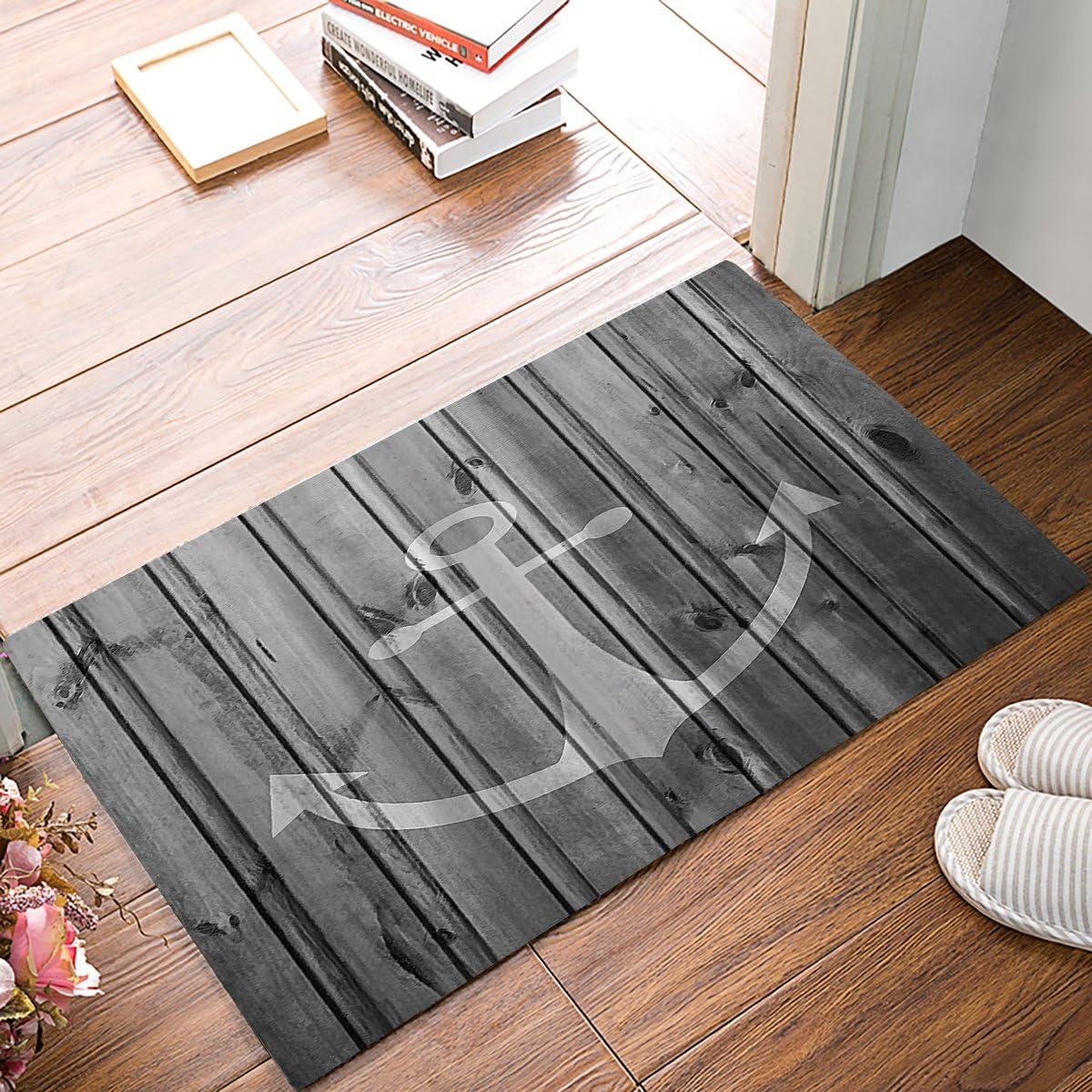 """Distressed Wooden Anchor Doormats Entrance Front Door Rug Outdoors/Indoor/Bathroom/Kitchen/Bedroom/Entryway Floor Mats,Non-Slip Rubber,Low-Profile 18""""x 30"""""""