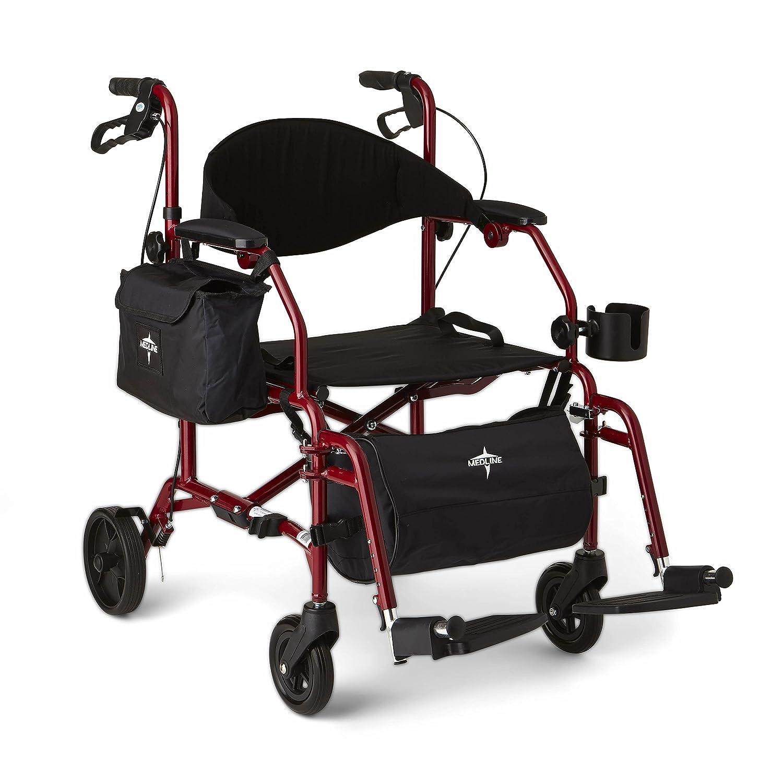 Medline bination Rollator Transport Chair Red Amazon