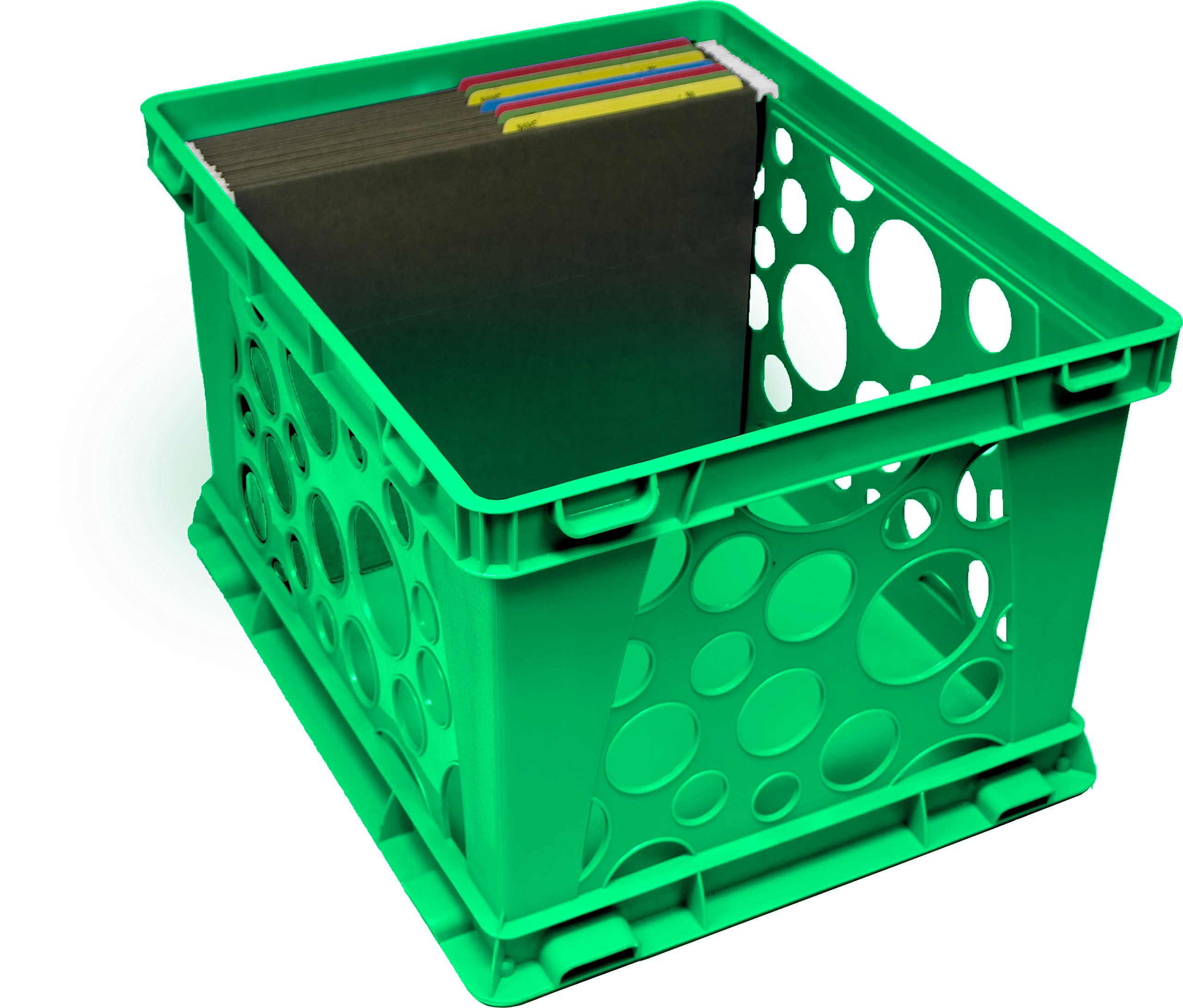 Storex Large Storage and Transport File Crate, 17.25 x 14.25 x 10.5 Inches, Green, Case of 3 (STX61556U03C) by Storex (Image #2)