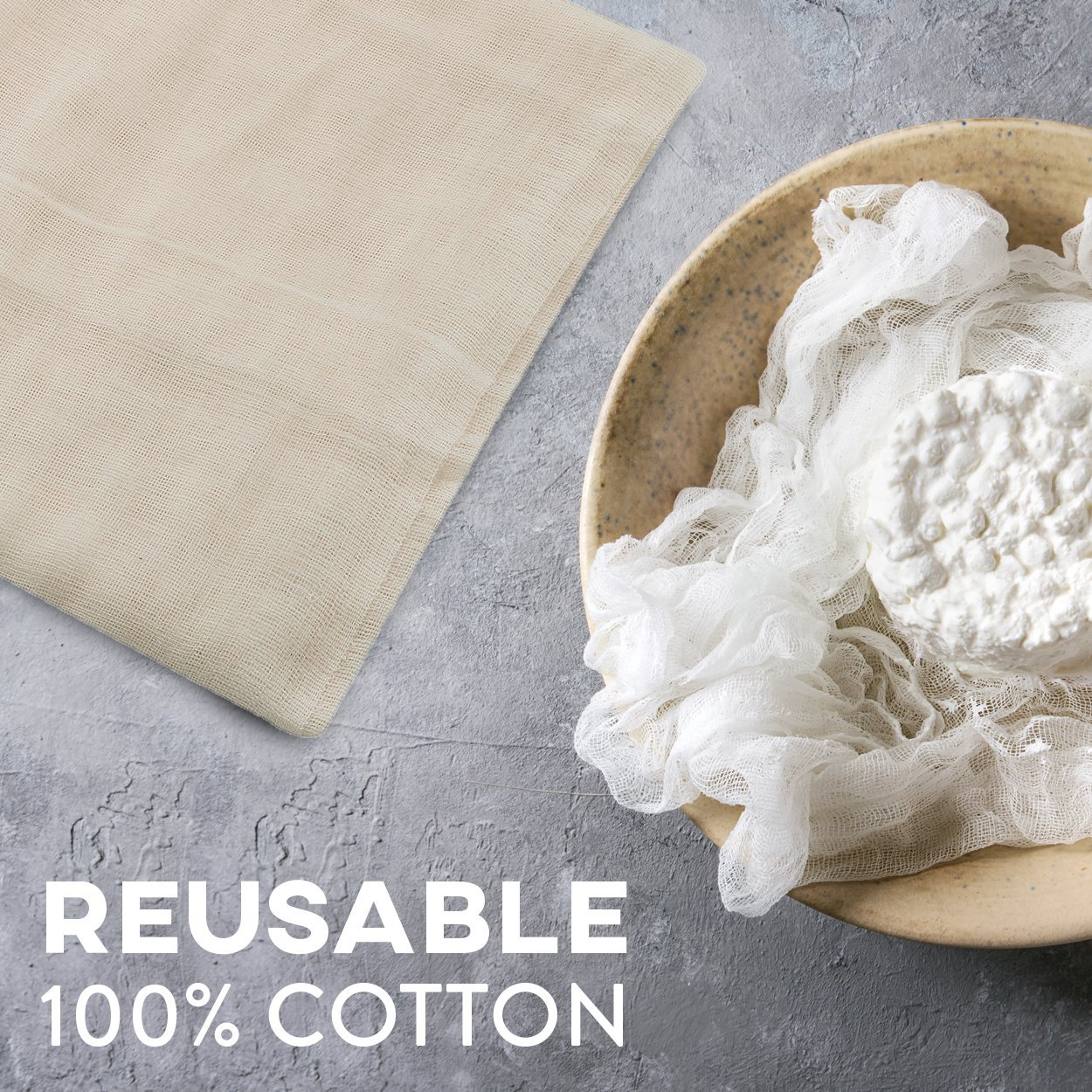 Cheesecloth and Cooking Twine - by Kitchen Gizmo, Grade 50 100% Unbleached Cotton (5 Yards/45 Sq. Feet) Cheese Cloth for Straining with 220 Ft Butchers Twine by Kitchen Gizmo (Image #5)