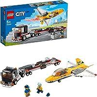 LEGO 60289 City Vliegshowjettransport, Vrachtwagen met Aanhaner en Jet Vliegtuig Speelgoed Voor Kinderen van 5 Jaar