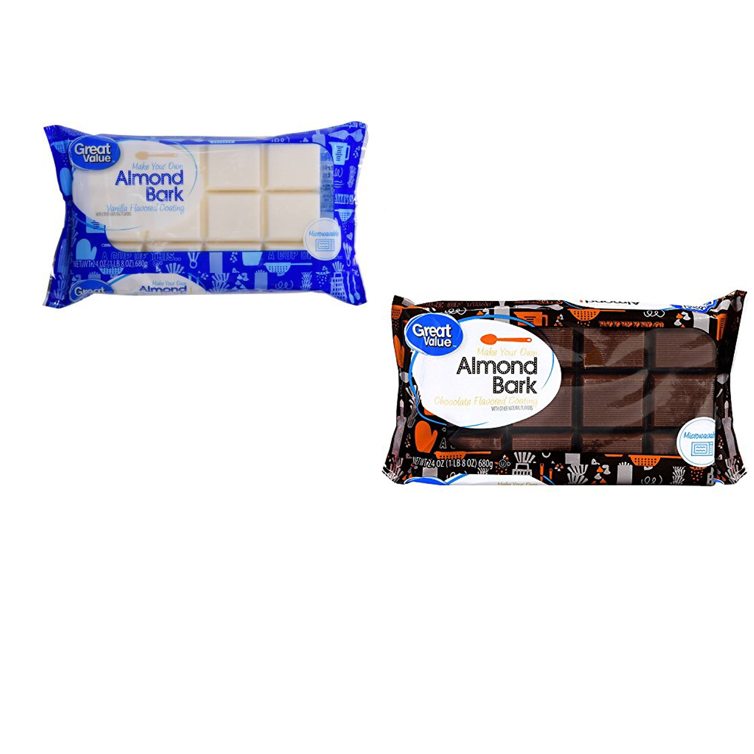 Great Value Chocolate Almond Bark AND Vanilla Almond Bark, 24 oz , 1 of each