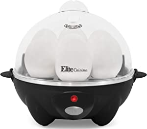 Elite Cuisine EGC-611B Easy Electric Poacher, Omelet & Soft, Medium, Hard-Boiled Deviled Egg Cooker with Auto-Shut off and Beep Alert, 7 Capacity, Black