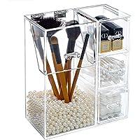 TreeBud - Caja de maquillaje transparente, soporte para brochas de maquillaje con tapa y 3 cajones, resistente al agua y…