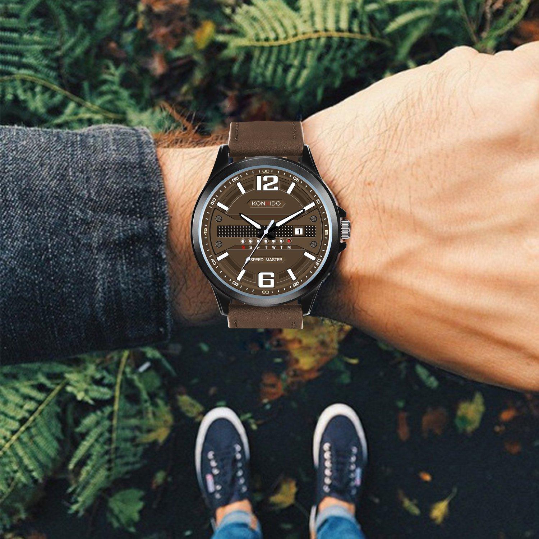 KONXIDO Men's Business Quartz Watch, Casual Fashion Analog Wrist watch Classic Date and Week Window, Waterproof 30M Water Resistant Comfortable Genuine Leather Strap Watches Coffee by KONXIDO (Image #3)
