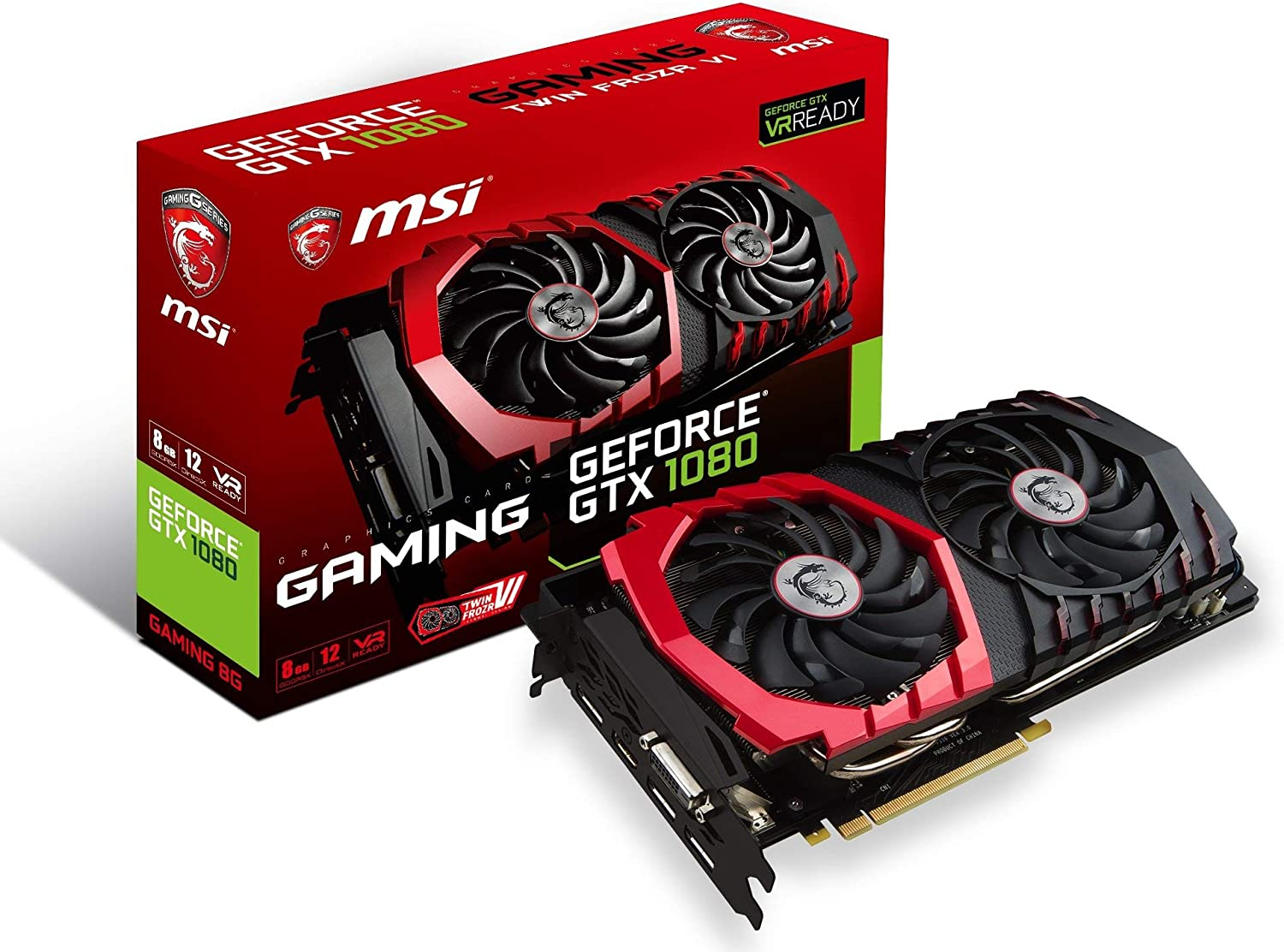 MSI Gaming GeForce GTX 1080 8GB GDDR5X SLI DirectX 12 VR Ready Graphics Card (GTX 1080 GAMING 8G) (Renewed)