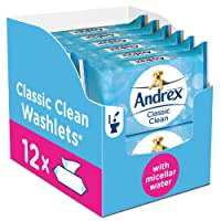 Andrex Washlets Flushable Toilet Tissue Wipes, Classic Clean - 12 Pack (Total 480 Wipes)