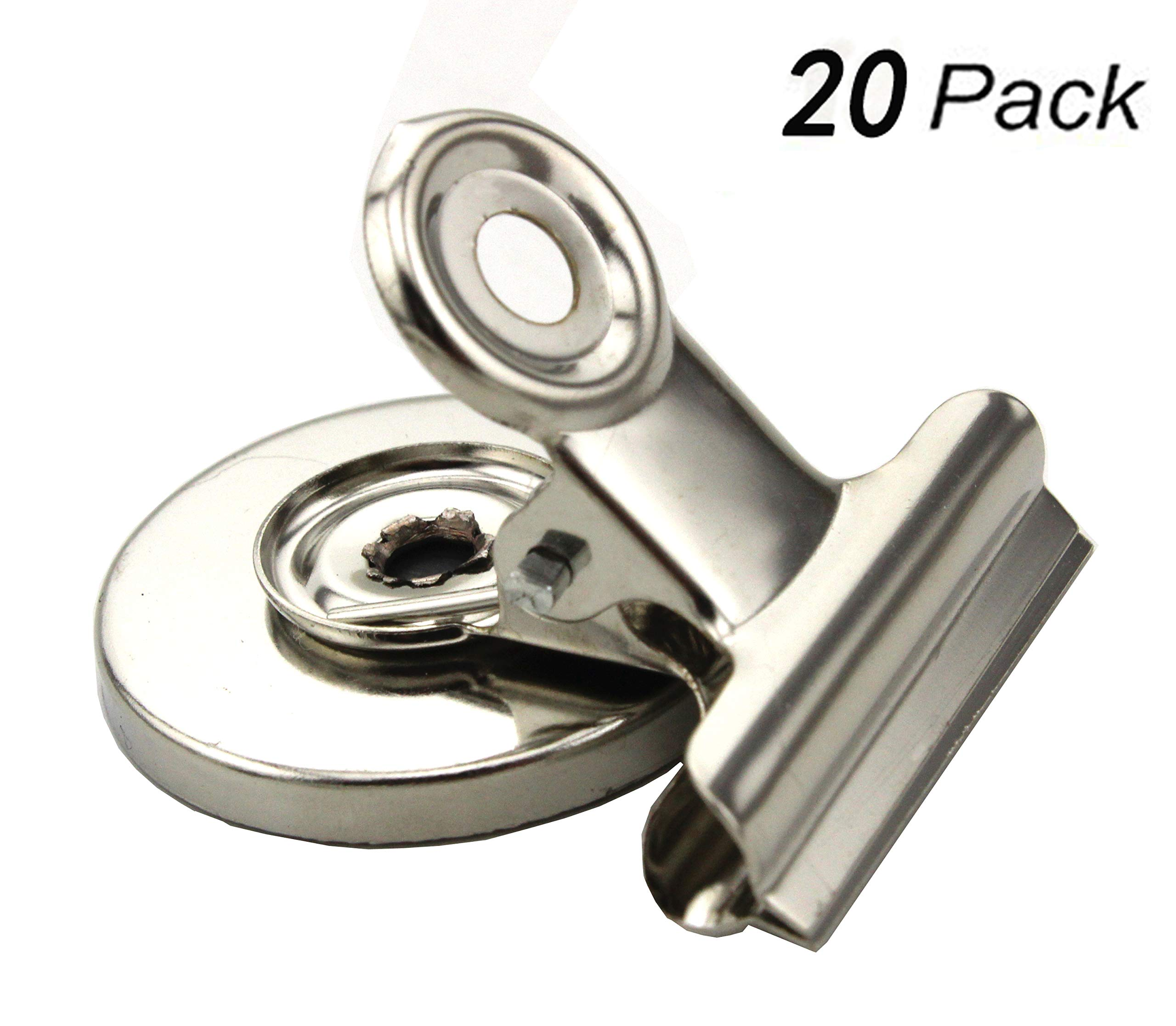 Set of 20 - ZICOME Bulldog Clips, Magnetic Back, Size 30mm 40mm, 20/Box, Silver