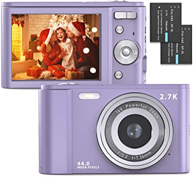Pinks Digital Camera 2.7K Full HD 44MP 16X Zoom Compact Camera with 2.88 inch IPS LCD Screen Pocket Camera for Kids,Students,School,Children,Photography