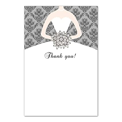 Amazon Com 30 Thank You Cards Grey Vintage Damask Bouquet Bride