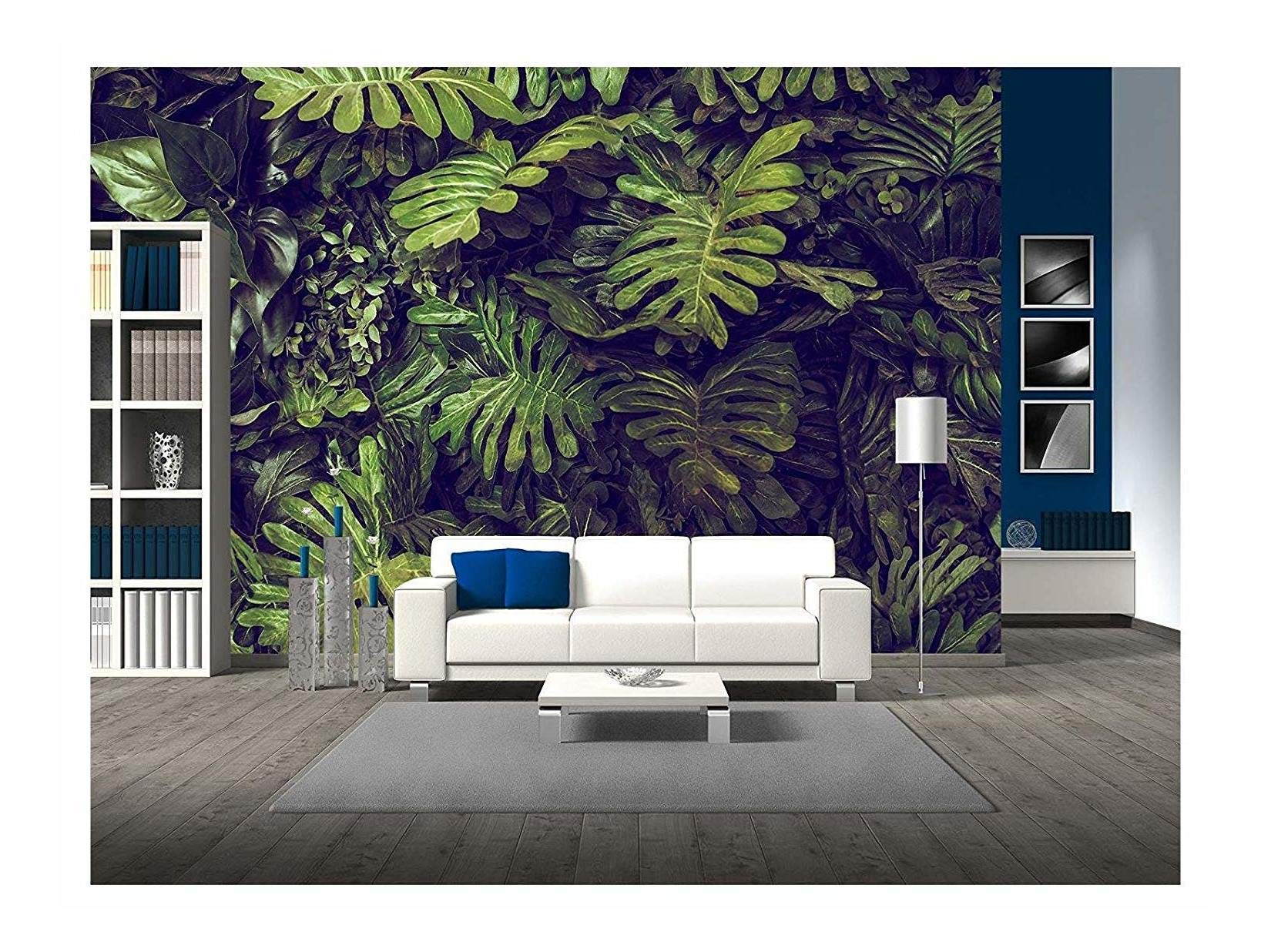 wall26 - Green Monstera Leaves Texture for Background - Top View - in Dark Tone. - Removable Wall Mural | Self-Adhesive Large Wallpaper - 100x144 inches