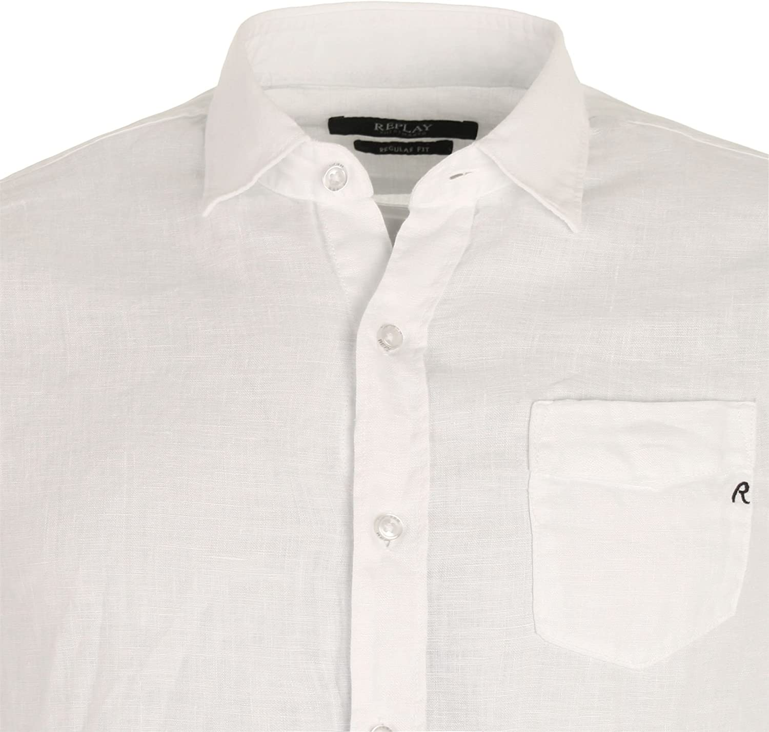 New Mens Replay Slim Fit Long Sleeve Shirt Black White And Blue