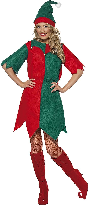 Smiffys Disfraz de elfa con gorro y túnica, Rojo y verde, Medium ...