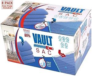 Vacuum Bags | 8 PACK Jumbo Size | Vacuum Storage Bags for Clothes | Vacume Storage Bag | Storage Bags Vacuum Sealed | Vacuum Sealer Bags | Premium 80% Space Saver Heavy Duty Bags | Free Hand Pump