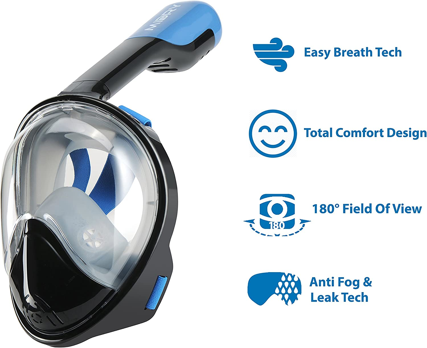 MIDRY Pro Snorkeling Starter Pack Full Face Snorkel Mask Carrying Bag Anti Fog Spray Panoramic 180/° View Easy Breathing Technology