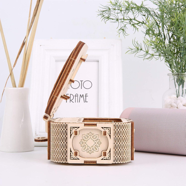 Kit de Artesan/ía GuDoQi Rompecabezas de Madera 3D Cortado Juguete de Montaje de Bricolaje para Adolescentes y Adultos Cofre del Tesoro con M/úsica Caja Joyero de Modelo Mec/ánico para Construir