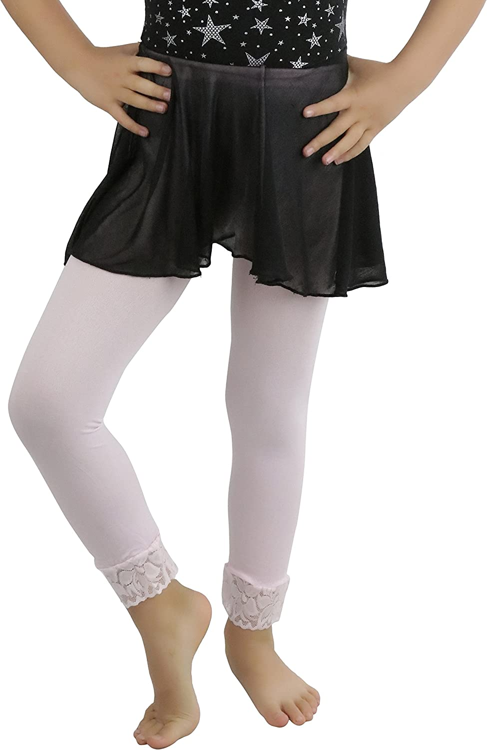 ToBeInStyle Girl/'s GIRLS OPAQUE LEGGINGS WITH LACE TRIM