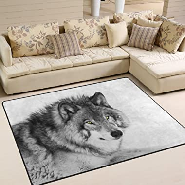 Naanle Animal Wolf Non Slip Area Rug for Living Dinning Room Bedroom Kitchen, 4' x 5'(48 x 63 inches), Black and White Wolf Nursery Rug Floor Carpet Yoga Mat